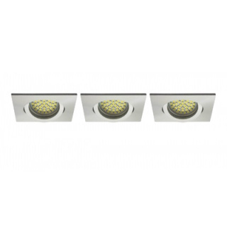 LED Einbaustrahler Warmweiß Alu gebürstet matt Eckig 3er Set